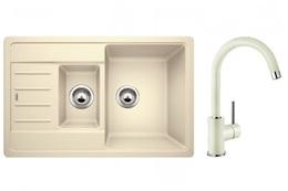 Кухонная мойка BLANCO - 521305M2 Комплект Legra 6S Compact Silgranit жасмин + Mida жасмин (521305 + 524205)